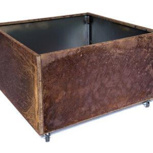 Rust højbed på hjul højde 40 cm bredde 60 cm længde 60 cm