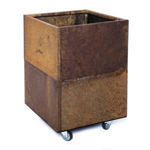 rust højbed på hjul højde 50 cm bredde 40 cm længde 40 cm
