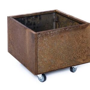 rust højbed på hjul højde 25 cm bredde 40 cm længde 40 cm